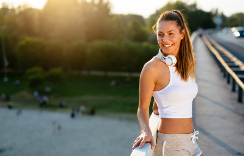 Young Woman Smiling During Jog